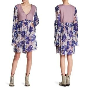 Free People Alice Vested Floral Long Sleeve Dress